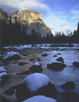 Snow, Stones, Merced River, Yosemite, California